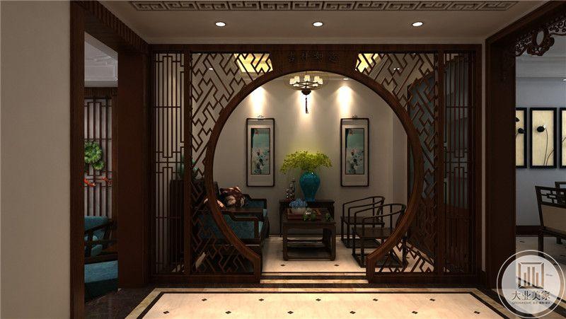 中海别墅370平米中式风格装修效果图