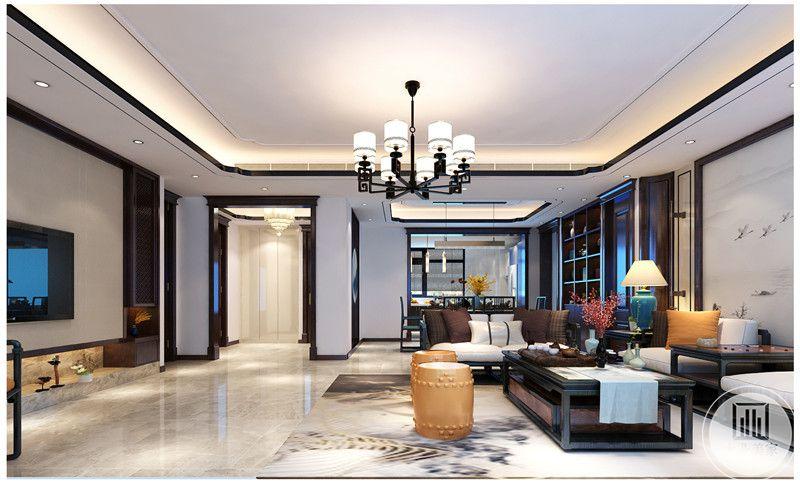 客厅装修效果图:从这里可以看到客厅餐厅的整体布局。