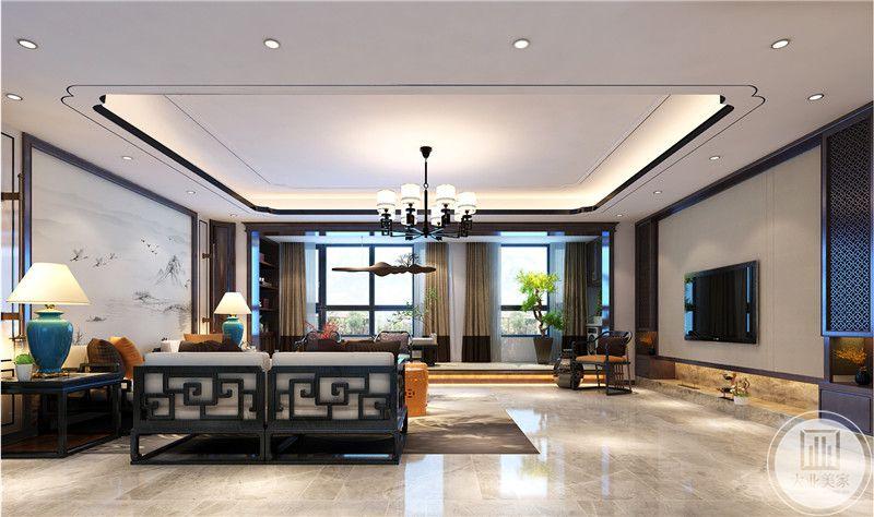 客厅装修效果图:从这里可以看到客厅阳台的布局装饰。