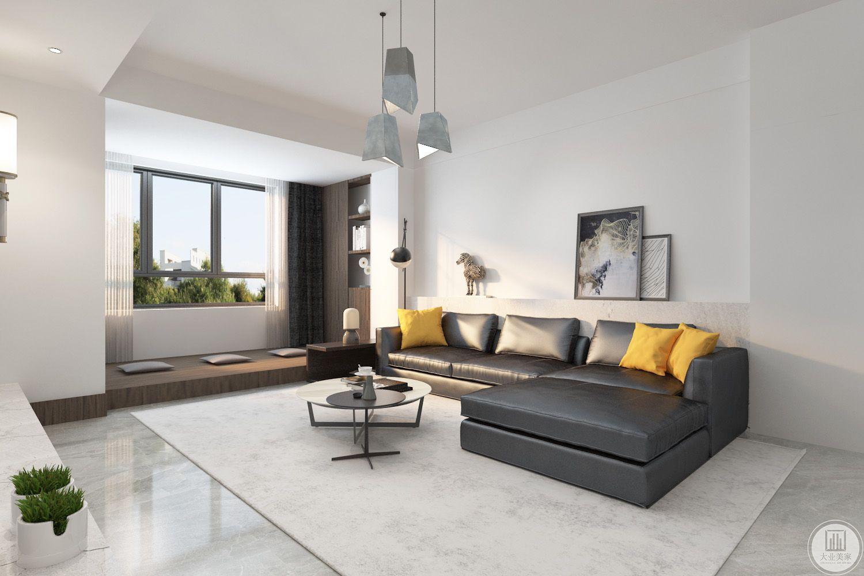 客厅装修效果图:沙发用灰色做装饰,搭配灰白相间的圆形茶几,地面铺灰色瓷砖搭配白色地毯。