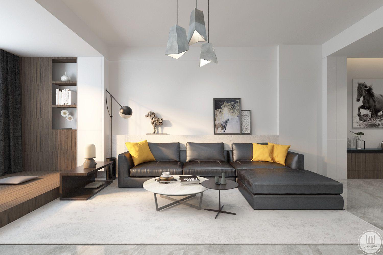 客厅装修效果图:沙发墙不作任何色彩装饰,一侧放置时尚画。