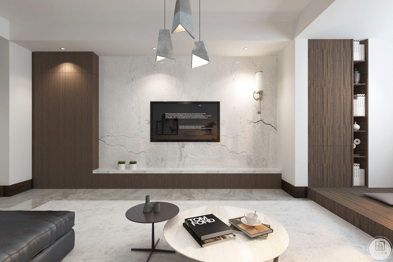 客厅装修效果图:影视墙使用大理石,一侧使用木质隐形门。