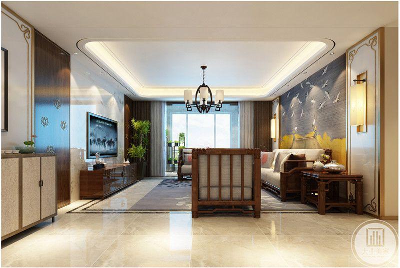 客厅影视墙采用浅色瓷砖,电视柜采用红木材料。