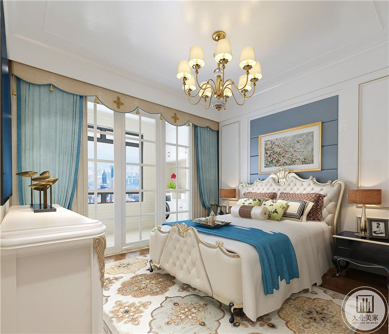 白色欧式风格大床搭配两侧黑色床头柜,床头背景墙以蓝色为主,搭配写实风景画。