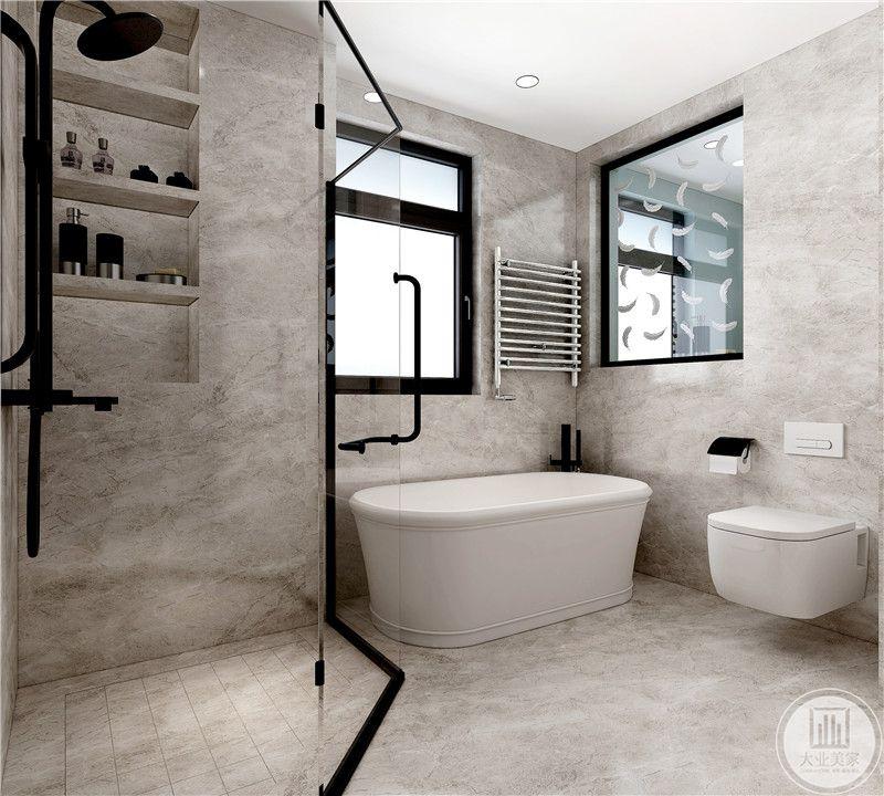 次卧室卫生间墙面和地面都采用浅色瓷砖,同时干湿分离。
