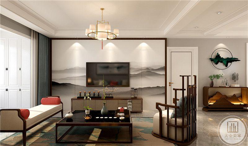 影视墙采用中式水墨画壁布,电视柜采用实木制作,地面铺贴瓷砖搭配浅绿色地毯。
