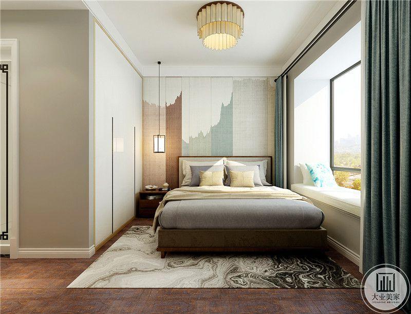 主卧室地面铺深色木地板,搭配白色地毯,床头背景墙采用时尚布艺设计。