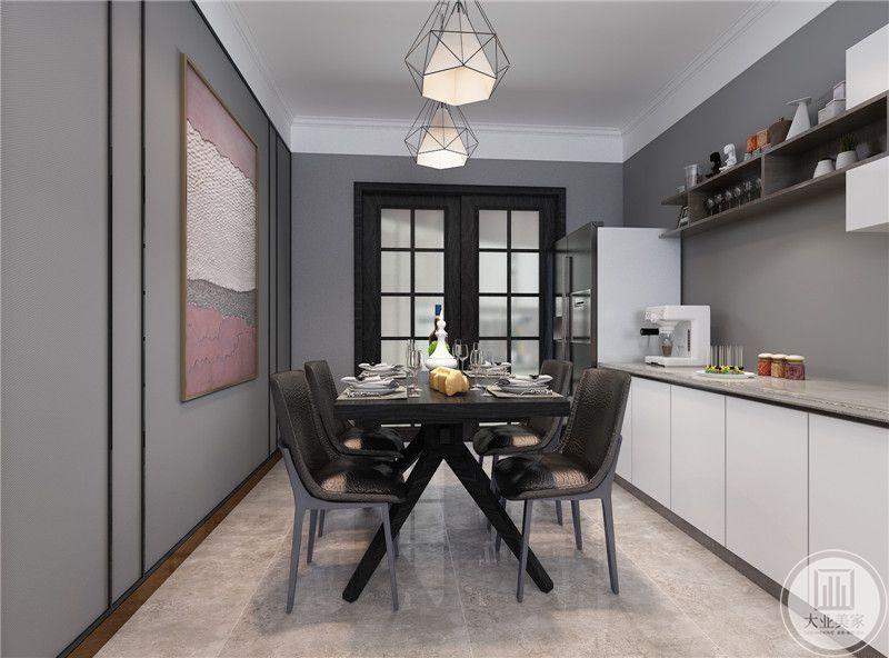 餐桌餐椅采用黑色金属,一侧采用白色橱柜,墙面采用深紫色壁纸做装饰。