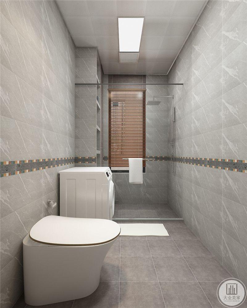 卫生间地面采用花纹砖,墙面采用灰色瓷砖。