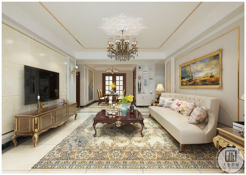 客厅装修效果图:从这里可以看到客厅和餐厅的布局装饰。