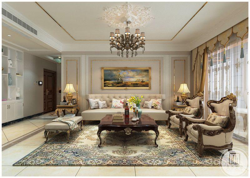 客厅装修效果图:沙发以白色为主,沙发墙用风景油画装饰。
