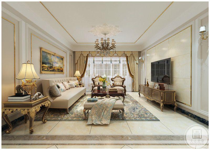客厅装修效果图:客厅的整体布局装饰。