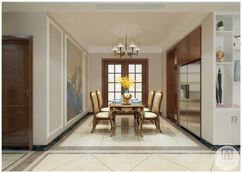 餐厅装修效果图:餐厅采用美式风格木质餐桌餐椅,背景墙使用现代油画装饰。