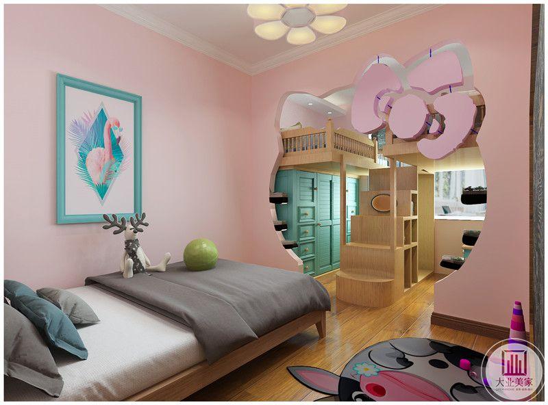 儿童卧室装修效果图:隔断采用卡通形象,里面把床太高,下面的部分用收纳柜支撑,节省空间增强收纳。