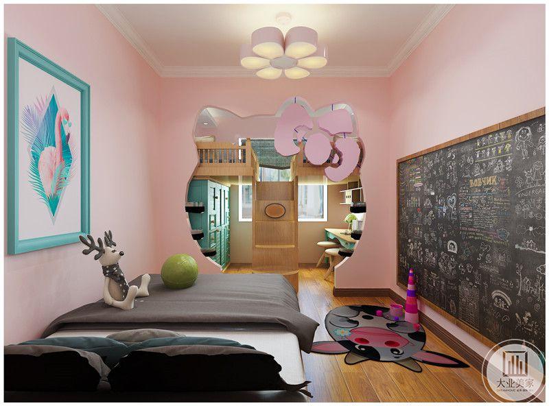 儿童卧室装修效果图:女孩房墙面都采用粉色,墙面挂画采用动物写实风格。