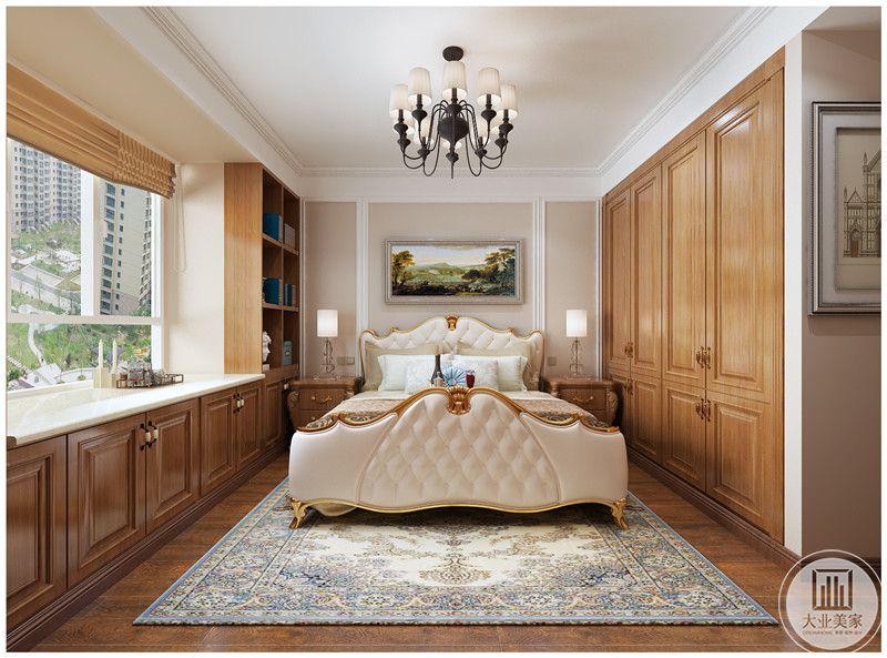 主卧室装修效果图:主卧室整体布局装饰与老人房基本相同,