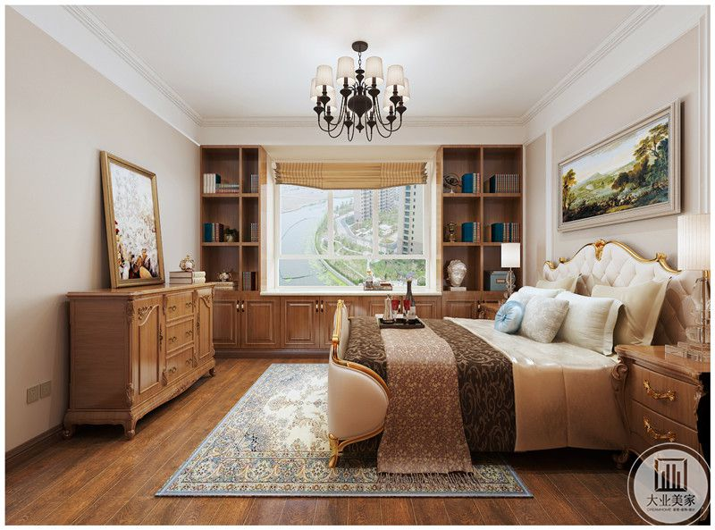 主卧室装修效果图:床尾的墙面设置木质橱柜,现代装饰画。