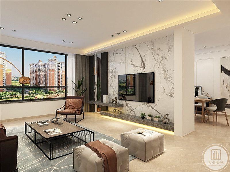 济南财富中心180平方米现代风格装修效果图
