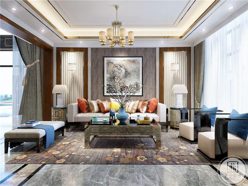 客厅装修效果图:客厅沙发墙采用中式山水画装饰,地面铺设大理石,搭配棕色地毯,沙发采用白色茶几使用不锈钢。