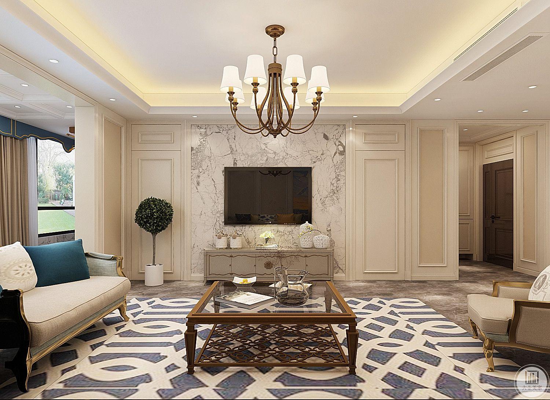 影视墙采用白色大理石,电视柜采用浅色美式风格。