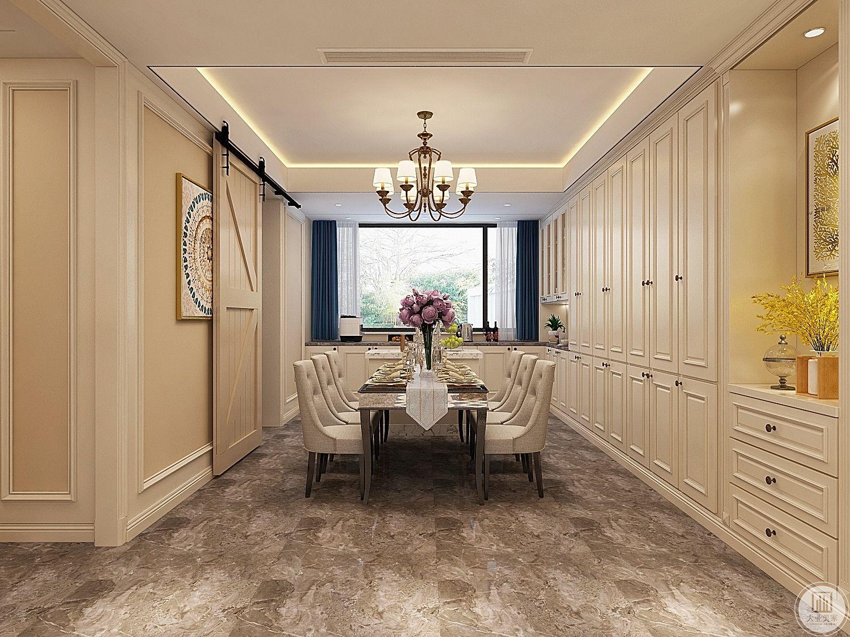 餐厅橱柜都采用白色,餐桌餐椅都使用木质框架美式风格,厨房门使用谷仓门。