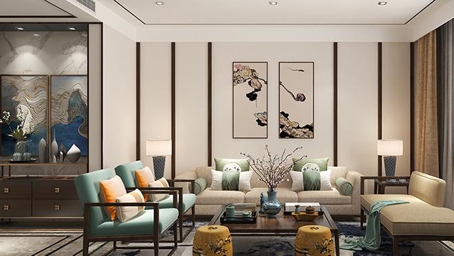 鲁能领秀城140平米新中式风格装修效果图