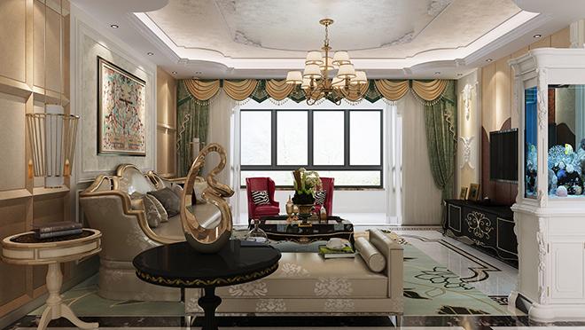 拉菲公馆294平米美式轻奢风格装修效果图