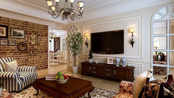名士豪庭148平米美式风格装修效果图