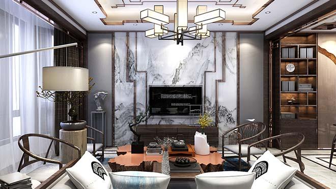 龙山希思庄园285平米新中式风格装修效果图
