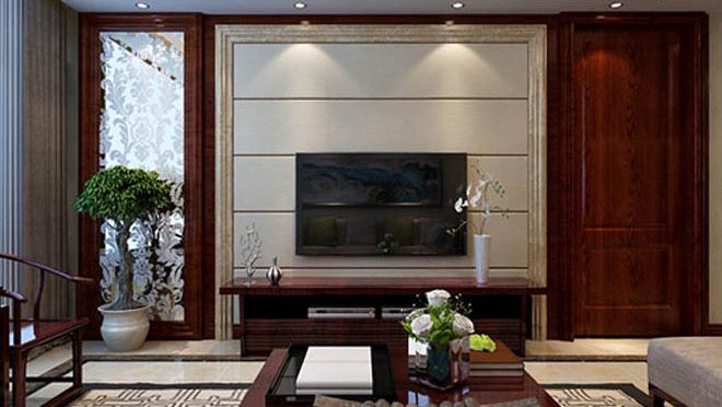 海尔绿城锦兰园150平米新中式风格装修效果图